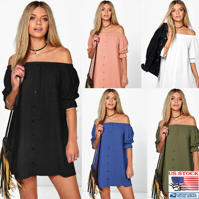 US Women Mini Off Shoulder Button Sundress Short Sleeve Sheering Top Casual Tank