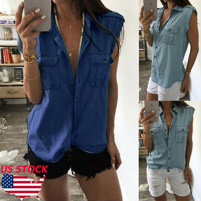 Women Sleeveless Summer Vest Top T Shirt Blouse Jeans Pure Color Casual Tank
