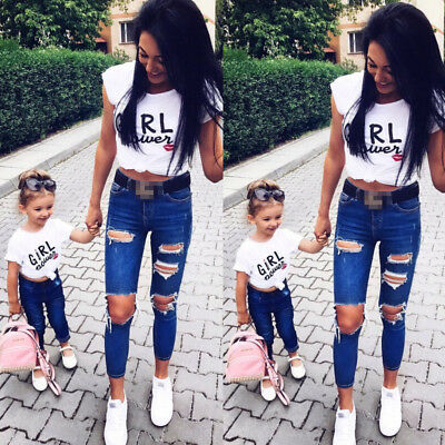 AU GIRL POWER Mother and Daughter Family Matching Shirts Cotton T-Shirt Clothes
