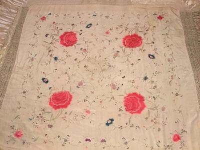 ANTIQUE EARLY 20th CHINESE CANTONESE EMBROIDERED SILK PIANO SHAWL EMBROIDERY #3!