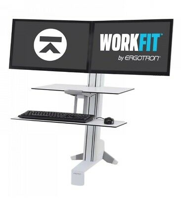 Ergotron WorkFit-S Dual Monitor with Worksurface+ (Black)