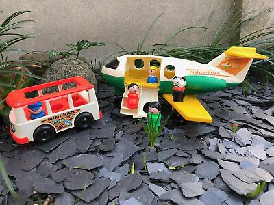 Avion n°182 + Mini Van et 5 personnages Little People Fisher Price Toys Vintage