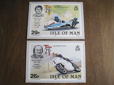 Isle of Man TT 75th anniversary stamp postcards 1982 (2 cards)