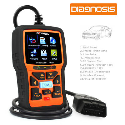 FOXWELL NT301 OBD2 Code Reader Check Engine Light OBDII Scanner Carrying Case SN