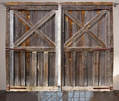 Rustic Curtains Decor by Ambesonne, Old Wooden Barn Door of Farmhouse Oak