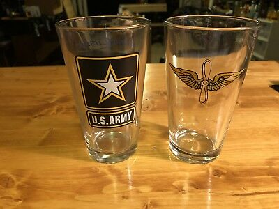 Lot Of Two (2) U.s. Army Aviation Pint Glass.....new.....look!!!