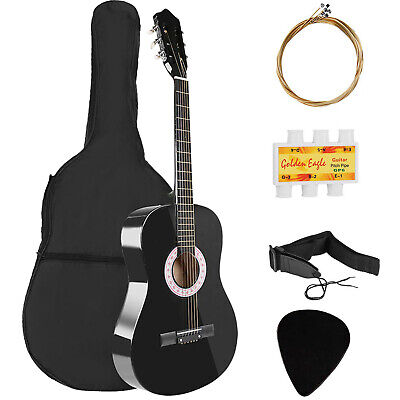 "Beginners 39.3"" Acoustic Guitar with Case, Strap, Tuner and Pick & Guitar Hanger"