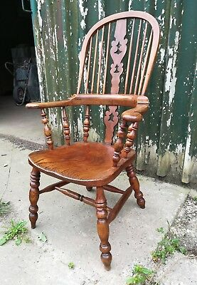 Antique 19th Century Ash and Elm Yorkshire Windsor Chair