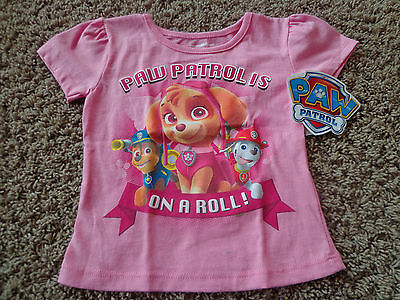 NICKELODEON girl's NWT sz 4T pink Paw Patrol on a Roll cotton blend graphic tee