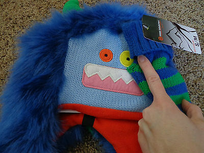 FREE COUNTRY brand NWT boy's sz S/M knit monster hat & glove set blues/green