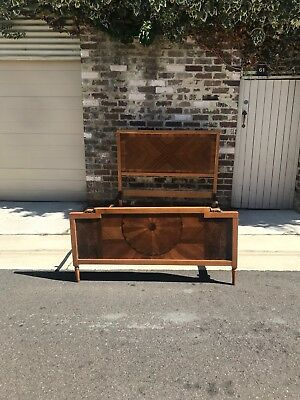 Vintage 1930's Marquetry Double Bed