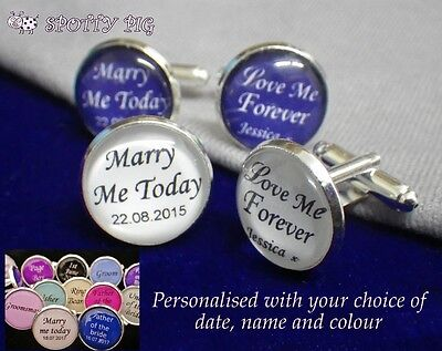 Personalised Cufflinks Wedding, From Bride to Groom Day Name & Date, Mens Xmas