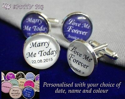 Personalised Cufflinks from Bride to Groom Wedding Day Name & Date, Mens Blue Wh
