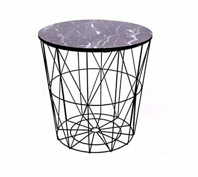 Round Modern End Side Table Black Coated Metal & Marble Effect Wood Lamp Coffee