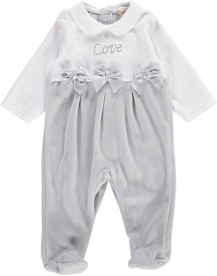Mintini Frill Kneck Satin Bow Babygrow 1 Month Baby Girl White Velour Clothes, Shoes & Accessories Babygrows & Playsuits