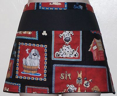 Black apron dogs in picture frames waitress server waist apron with 3 pockets