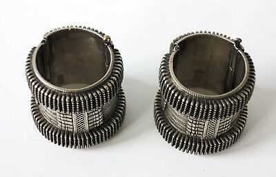 Rare Pair of Antique Silver Hinged Bracelets with Outstanding Filigree and