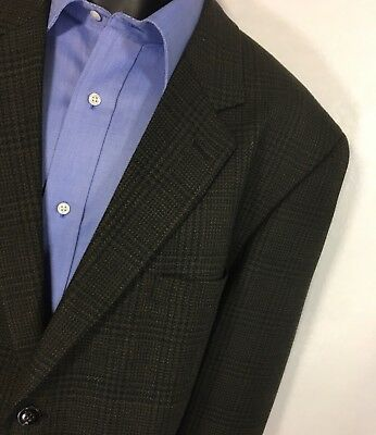GERALD Brown Plaid Blazer Size 46R | 100% Wool 2 Button Sport Coat