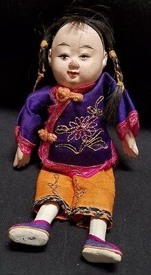 """Antique Composition Chinese Boy Doll In Cotton Clothes - 7"""""""
