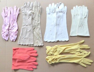 ~ Vintage Ladies Gloves Lot ~ 11 Pairs ~ Cloth & Leather ~ Size 6 1/2 - 7