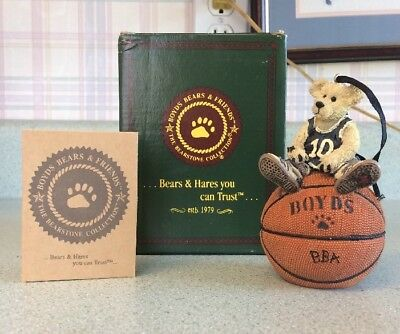 3E Boyd's Bears Larry Nuthin But Net Basketball Ornament. EUC With Box