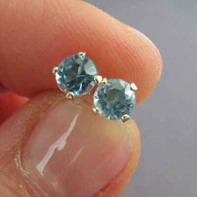 Vintage Cid 14K White Gold Round Cut Blue Topaz Solitaire Stud Pierced Earrings