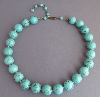 VINTAGE OLD PAWN BALL BEAD NUMBER 8 SPIDERWEB TURQUOISE ADJUSTABLE NECKLACE 91g
