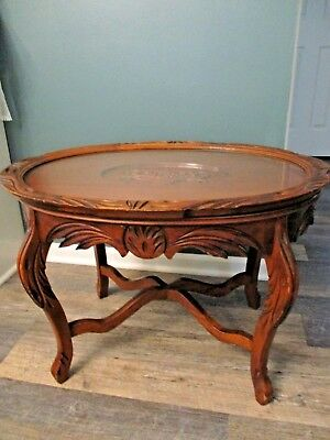 Antique wood table Carved Inlay Coffee Tea serving Tray Glass Top removable