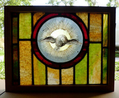 Antique Vtg Church Stained Glass Window Architectural Salvage Dove W94