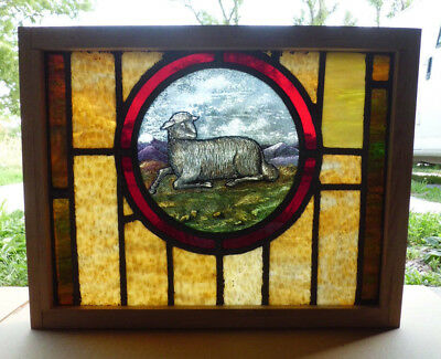 Antique Vtg Church Stained Glass Window Architectural Salvage Lamb W95