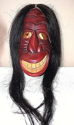 Iroquois Native American False Face Mask Clarence Longboat Copper Eyes Horsehair
