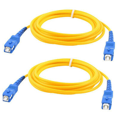 2 Pcs Simplex Single Mode SC to SC Male Fiber Optic Patch Yellow 2M O4A8