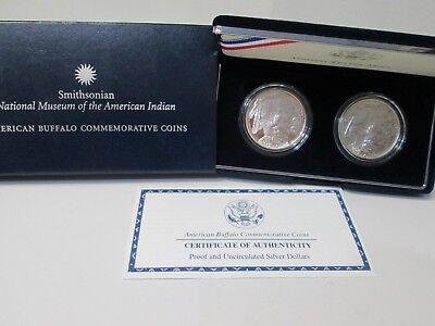 2001 American Buffalo 2 Coin Uncirculated & Proof Silver Dollar Commemorative Se