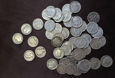 Lot of Silver dimes, 1946-1964 circulated, 3 mercury dimes
