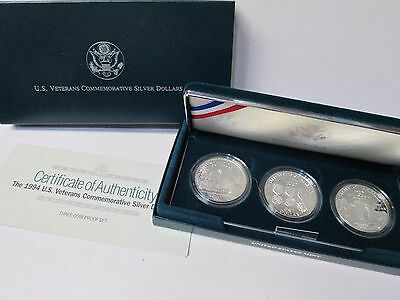 1994 US Veterans 3 Coin Proof Silver Dollar Commemorative Set