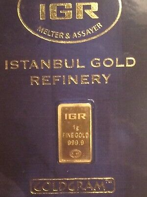 1 gram Gold Bar - IGR - Istanbul Gold  999.9 Fine in Sealed Assay