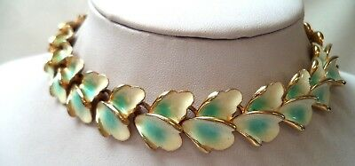 "Stunning Vintage Estate Signed Kramer Blue White Flower 13"" Necklace!!! 9781N"