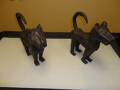 African Bronze Leopards Matched Pair 100% Charitable Auction