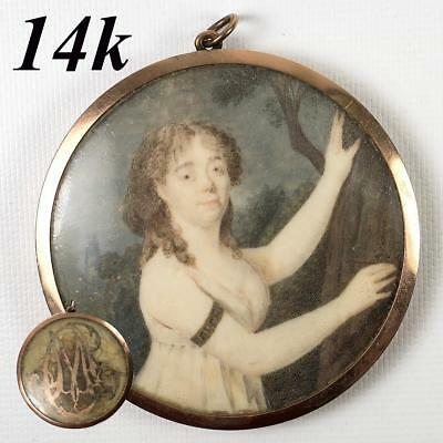Antique French Portrait Miniature in 14k Gold Frame, Directoire, c.1770s, Hair