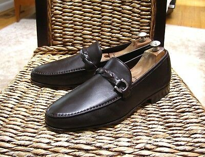 Salvatore Ferragamo Mens Brown Leather Gancini Side Buckle Loafers Size 10 EE