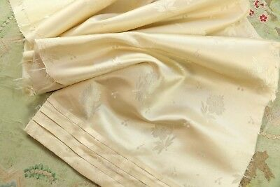"ANTIQUE SILK SATIN DRESS PANEL BROCADE FRENCH DOLL DRESS 1800s CREAM 41"" TALL"