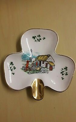 Vintage Carrigaline pottery ashtray / trinket dish - Clover shaped