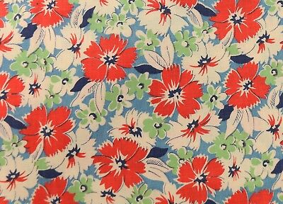 "VINTAGE 1930s GORGEOUS FLORAL RED WHITE BLUE FLOWER 36"" WIDE DEPRESSION 1/2 YARD"