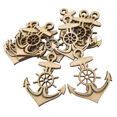 10pcs Anchor Wooden Tags Unfinished Wood Cutout Craft with String DIY Craft