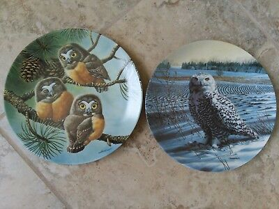 lot of 2 Owl china plates by The Edwin M Knowles China Co.