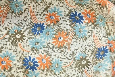"VINTAGE 1930s GORGEOUS FLORAL BROWN WHITE BLUE FLOWER 36"" WIDE DEPRESSION 1 YARD"
