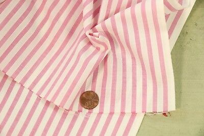 "VINTAGE 1940s COTTON DIMITY FABRIC ROSE PINK WHITE STRIPE 36"" WIDE DOLL DRESS"
