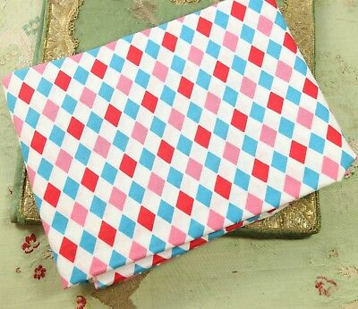"VINTAGE 1940s COTTON HARLEQUIN FABRIC 1.25 YARDS 33"" WIDE DOLLS PINK BLUE WHITE"