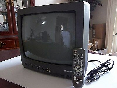 """Vintage Toshiba 13"""" Color TV Model 13A22 with Front A/V Ports and Remote Control"""
