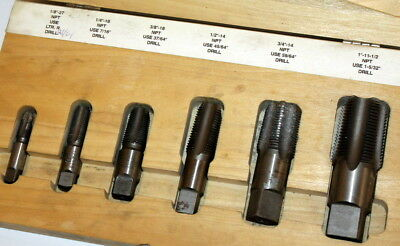 """Snap-on Tools TDP6 6 pc Pipe Tap Set in Wood Case 1/8"""" -27 to 1""""-11-1/2 NPT NICE"""